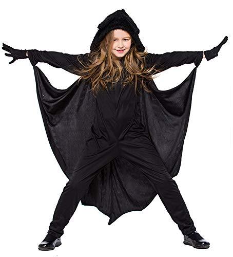 Tutu Dreams Kid Black Bat Vampire Costumes Hooded Outfits Girls Boys (X-Large) ()