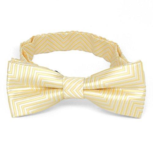 TieMart Boys' Canary Yellow Kimberly Chevron Stripe Bow Tie