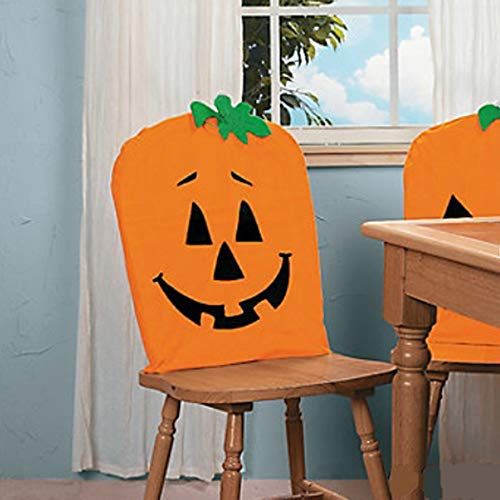 Halloween Pumpkin Chair Cover, Halloween Holiday Fabric Pumpkin Chair Cover Ghost Festival Supplies Decoration for Halloween Trick or Treat (Orange)
