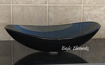 Etonnant Elite 1/2u0026quot; Thick Clear Black Oval / Boat Glass Vessel Sink + Pop