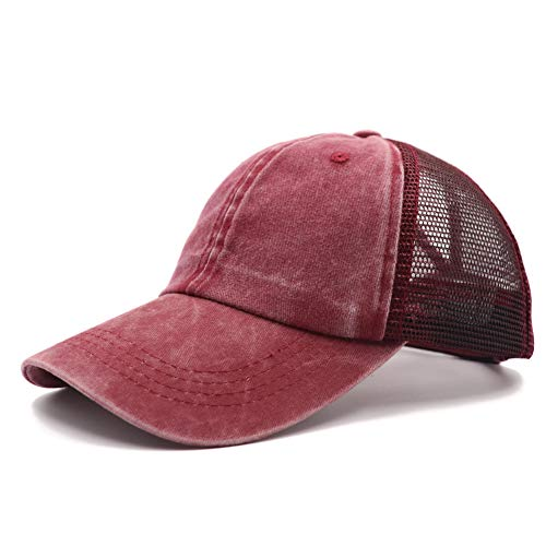 Ponytail Vintage Mesh Dad Hat Plain Baseball Cap Low Profile UnconstructedTrucker Messy High Bun Hat Adjustable Ponycaps