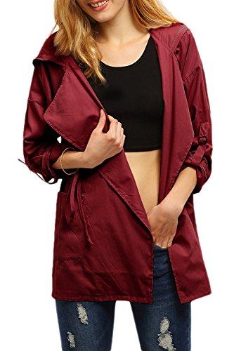Taille Vêtements À Capuche Wine Femmes Revers Cravate Poches Les Avec Impers Des 405UAxww