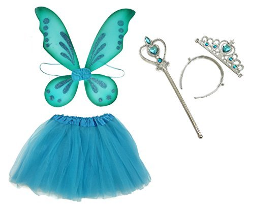 Rush Dance Ballerina Princess Fairy Dress up Costume - Pixie Wings, Wand, Tiara & Tutu (One Size, Turquoise)