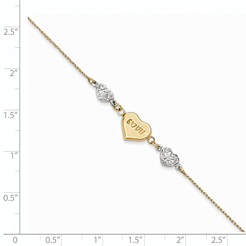 Roy Rose Jewelry 14K Yellow Gold Two Tone Puffed LOVE Heart & Diamond-cut Hearts Bracelet ~ Length 7'' inches by Roy Rose Jewelry (Image #2)