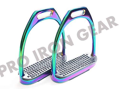 (PRO IRON GEAR Rainbow Gloss Fillis Irons Stirrups Horse Riding Stainless Steel)