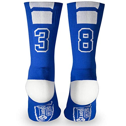 Warrior Lacrosse Socks , Custom Team Number Crew Socks | Athletic Socks By | Blue | Choose Your Number, Warrior Lacrosse Shorts Men