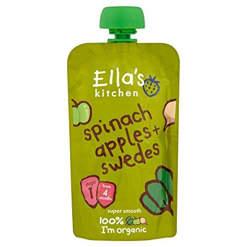 Ella's Kitchen - Stage 1 Baby Food - Spinach, Apples & Swedes - 120g (Case of 7) by Ella's Kitchen