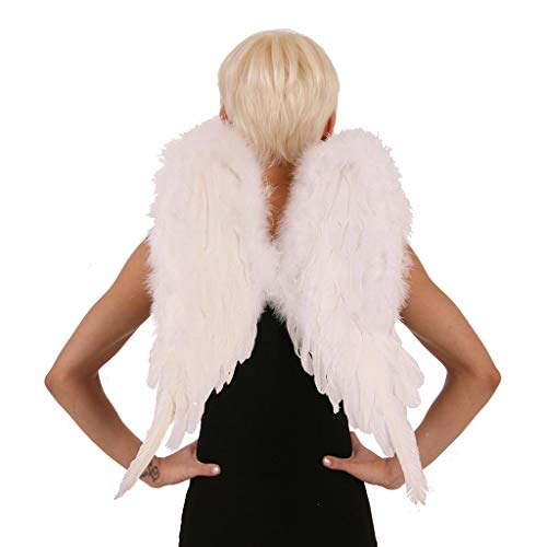 (ZUCKER White Angel Fairy Costume Wings - Small Adult and Teens Halloween Costume & Cosplay Feather Wings)