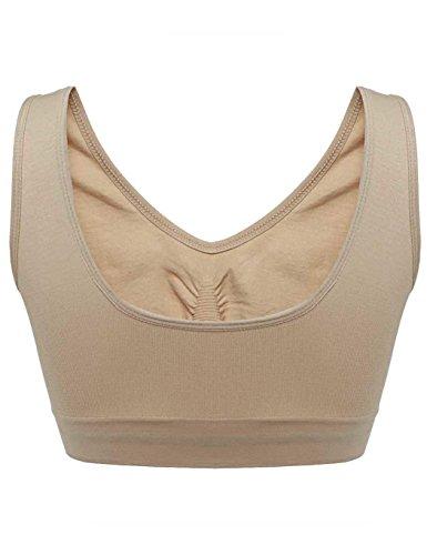- dalina Women Ladies V-Neck Stretch Wire Free Pure Color Bra Yoga Sports Casual Crop Tops Sleepwear Nightwear Sports Bras Nude