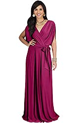 Koh Koh Petite Womens Long Semi Formal Short Sleeve V Neck Full Floor Length V Neck Flowy Cocktail Wedding Guest Party Bridesmaid Maxi Dress Dresses Gown Gowns Fuchsia Magenta Pink Xl 14 16