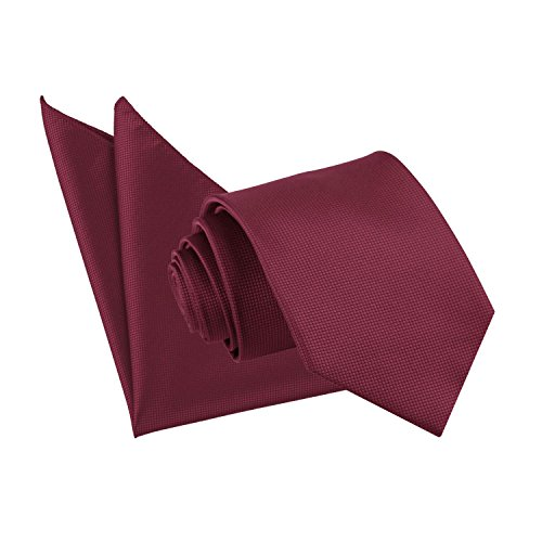 DQT Burgundy Wedding Solid Tie Hanky Neck Standard Men's Plain Check 1n1rqHU