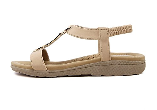Mine tom Mujeres Sandalias Peep Toe Sandalias Verano T-Correa Playa Zapatos Planos Del Talón Albaricoque