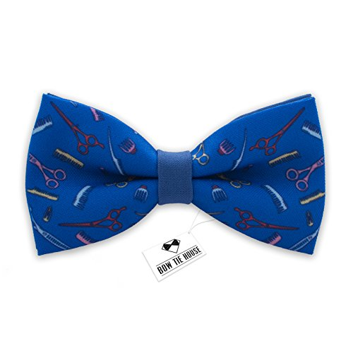 Bow Tie House Hipster Barber Shop bow tie pre-tied unisex (Medium, Blue Barber)