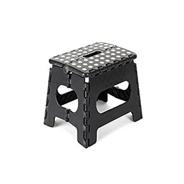 "Epica Folding Step Stool – Ideal for Kids and Adults-Non-Slip 9"" x 11"" Platform - Adds 9 Inches of Height - Holds Up to 350 lbs. - Black"