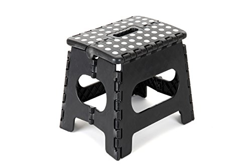 "Epica Folding Step Stool – Ideal Kids Adults-Non-Slip 9"" x 11"" Platform - Adds 9 Inches Height - Holds Up to 350 lbs. - Black"