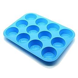 DAPOTO Cupcake Makers 12 Cavities Silicon Cake Pan Blue (12 Cup, Blue)