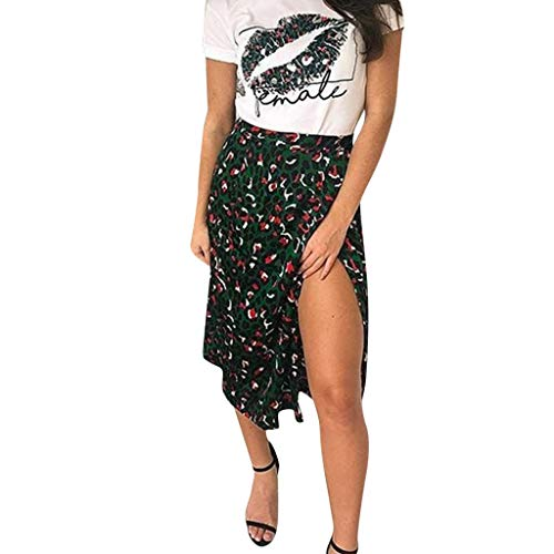 ce38513d5967 Women's Floral Printing Vintage Cool Feel Long Dress Ladies Summer Casual  High Waist Pleated Cute Soft Split Skirt QAQ (Green, S)