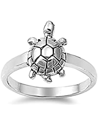 Sterling Silver Elegant Women's Turtle Ring (Sizes 4-11)