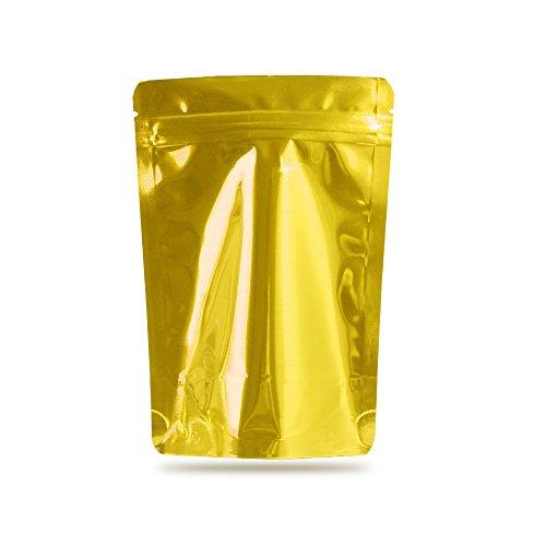Bait Quart - 100 Pieces Aluminum Mylar Foil Stand Up Ziplock Pouches Double Side Colored Heavy Duty Reusable Ziplock Bags High Premium Food Tea Bait Packaging (Gold, 14x20cm (5.5x7.9