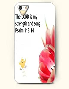 iPhone 5 5S Case OOFIT Phone Hard Case ** NEW ** Case with Design The Lord Is My Strength And Song. Psalm 118:14- Bible Verses - Case for Apple iPhone 5/5s