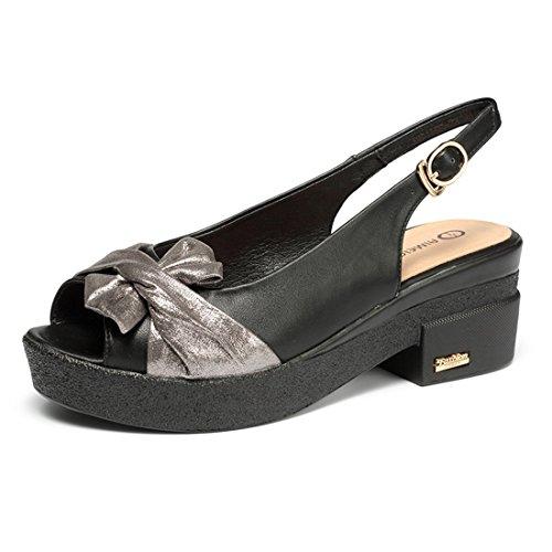 Grueso Zapatos black Corbata Fondo Sandalias Pescado Boca Lazo de Simple de Damas Sandalias de de 7wqZpZ