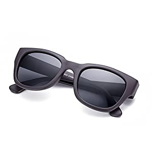 Naivo Women's YJMH098-1 Polarized Rectangular Poker Sleek Sunglasses, Eye's Black