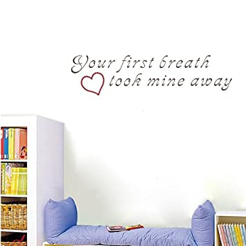 PopDecors   Your First Breath Took Mine Away   Inspirational Quote Wall  Decals Quote Decals Wall
