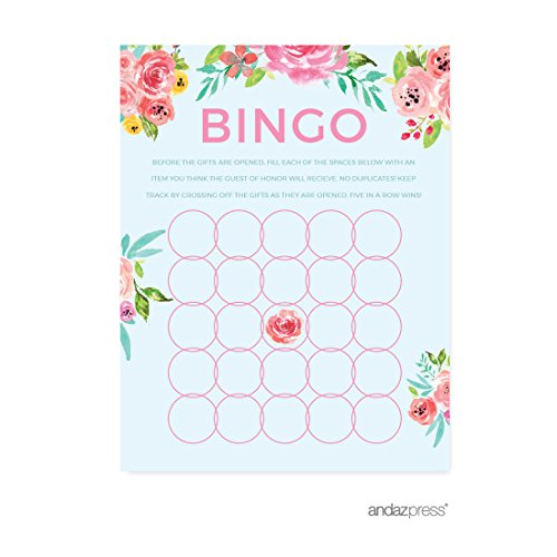 Andaz Press Pink Roses English Tea Party Tea Party Baby Shower Collection, Baby Bingo Game Cards, 20-Pack, Games Activities and Decorations ()