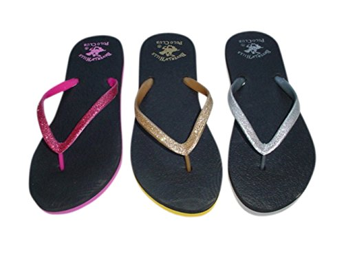 Beverly Hills Polo Club Sizzle Mujeres Glitter Sparkle Flip Flop Sandalia Tanga Plateado