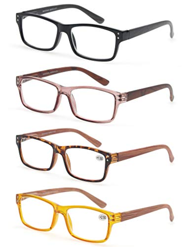 MODFANS Reading Glasses 4-Pack Wood Look Printed Arms Readers Classic with Spring Hinges for Men and Women ()