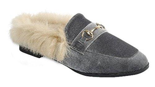 Dev Womens Warn Faux Foderato In Pelliccia Casual Slip On Flat Flip Flop Pantofole Slider Moccasion Mule Sandale Scarpe Grigio-a