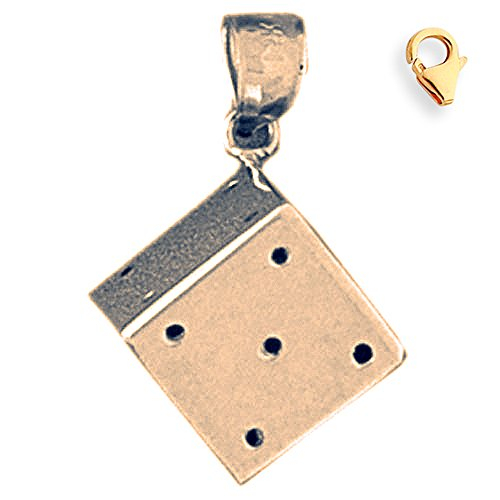 Jewels Obsession Dice Charm | 14K Yellow Gold Dice Charm Pendant - 23mm
