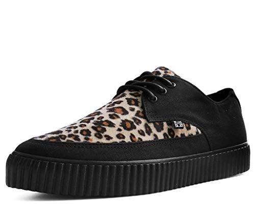 T.u.k. Sneaker De Liane Pointu, Femmes Shoes Hommes Léopard Fausse Fourrure Noir