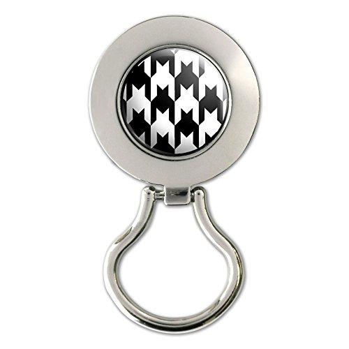 Preppy Houndstooth White Black Magnetic Metal Eyeglass Badge - Eyeglasses Preppy