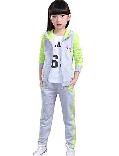 Theplus Girls Cute Hoodie Zip Long Sleeve Tracksuit Sets 10-11 Years Light Green