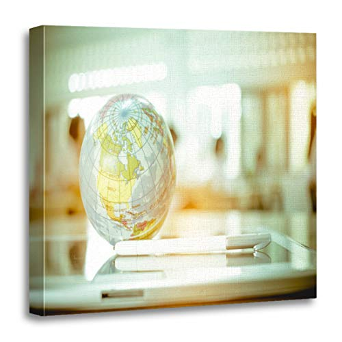 Semtomn Canvas Wall Art Print Earth Globe Model Ball Map Class Room on Tablet Artwork for Home Decor 20 x 20 Inches