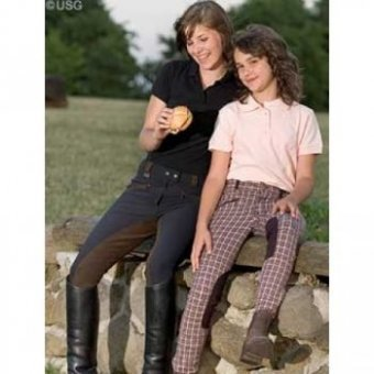 Black Brown Size 72USG Ladies' Riding Breeches Isabelle with 3 4 Contrast Patch, Size 72, Black  Brown