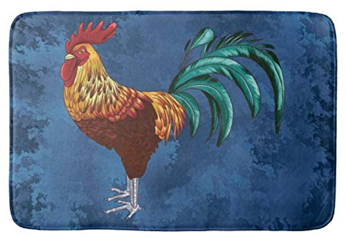 Yesstd Rooster Absorbent Super Cozy Bathroom Rug Doormat Welcome Mat Indoor/Outdoor Bath Floor Rug Decor Art Print with Non Slip Backing 30