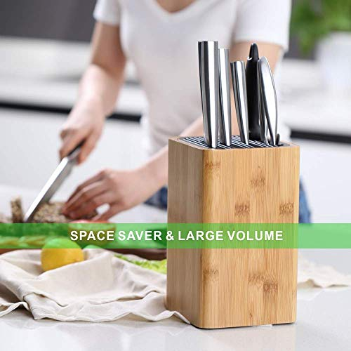 Deluxe Universal Knife Block with Slots for Scissors and Sharpening Rod - Eco-Friendly Bamboo Knife Holder For Safe, Space Saver Knives Storage - Unique Slot Design to Protect Blades - by KITCHENDAO by KITCHENDAO (Image #1)
