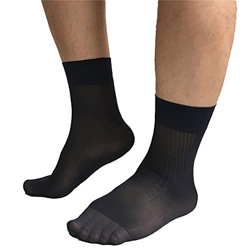 Mr.Babuu 4Pairs Pack Men's Summer Thin Cool Striped Silk Sheer Short Dress Casual Socks (4Black)