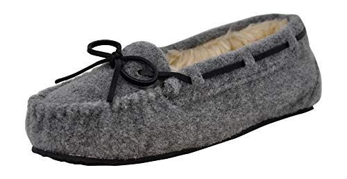 Minnetonka Women's Cally Faux Fur Slipper, Light Grey, 5 M US ()