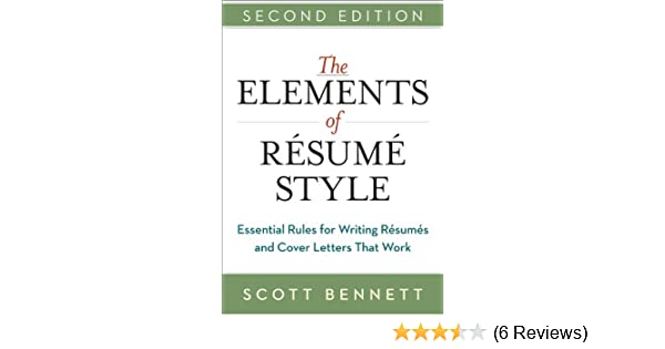 amazon com the elements of resume style essential rules for