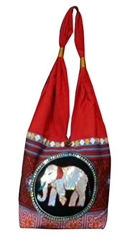 Thai Bag Elephant Parade Cotton Shoulder Purse Hippie Hobo