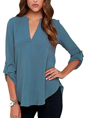 Iasion blusas de las mujeres con cuello en V manga Blusa Camisas Tops Blue1