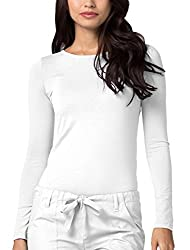 Adar Womens Comfort Long Sleeve T-shirt Underscrub Tee - 2900 - White - M