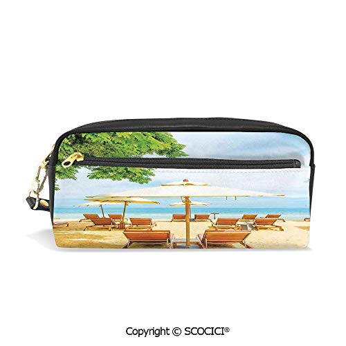 Students PU Pencil Case Pouch Women Purse Wallet Bag Umbrella and Chairs on Tropical Beach Summer Vacation Destination Image Waterproof Large Capacity Hand Mini Cosmetic Makeup Bag (Leather Billfold Epi)