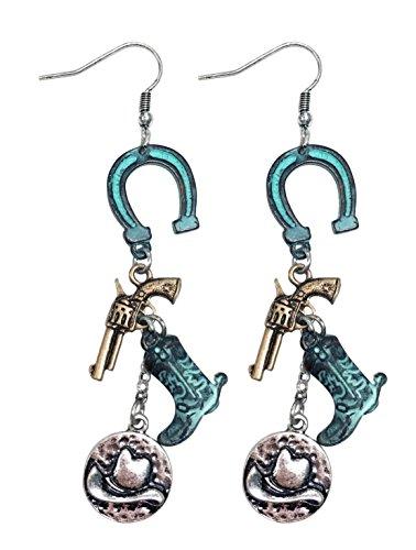 Western cowgirl rodeo horseshoe cowboy boot charm earrings (PATINA) (Boot Shoe Charm)