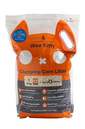 Rufus & Coco WeeKitty | Natural Flushable Clumping Cat Litter | Low Tracking Biodegradable Pellets | Corn 8.8lbs bag
