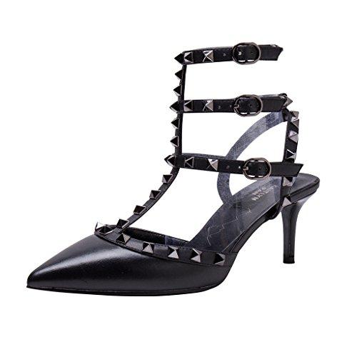 Beige Black Matte metal Pan Studs Black Zoccoli Beige Kaitlyn Gun Straps Donna taXFxqx1A