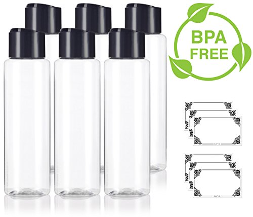 Clear 16 oz / 500 ml Large Professional Cylinder PET Bottles (BPA Free) with Wide Black Disc Cap Lid (6 pack) + Labels for Shampoo, Conditioner, Body Wash, Lotion, and more ()